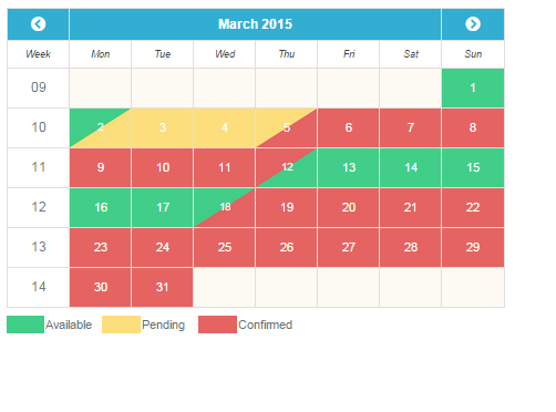 Availability Booking Calendar PHP screenshot