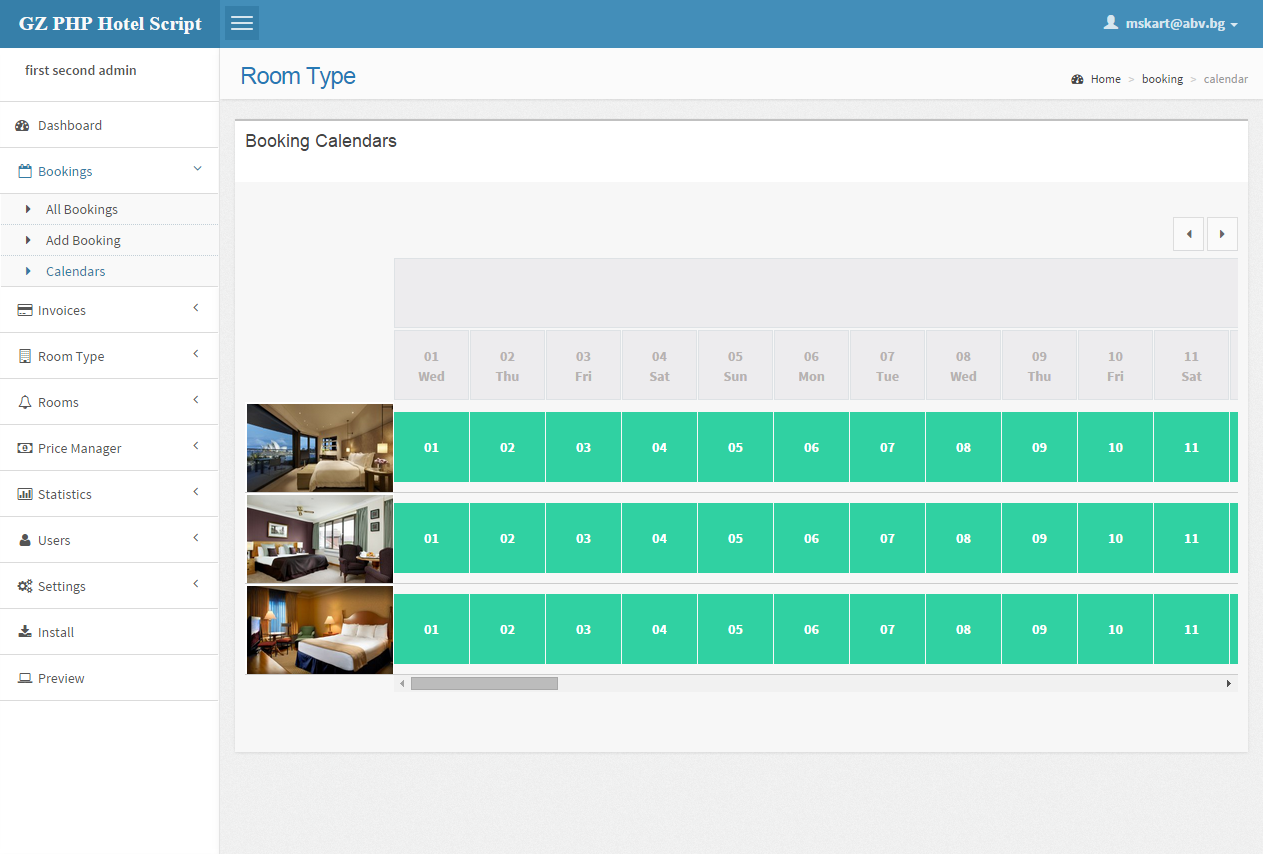 Calendar Booking System Php : Php gz hotel booking script